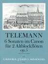 TELEMANN 6 canonic sonatas op. 5 for 2 treble rec.