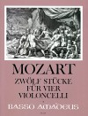 MOZART 12 pieces for 4 violoncelli - score/parts